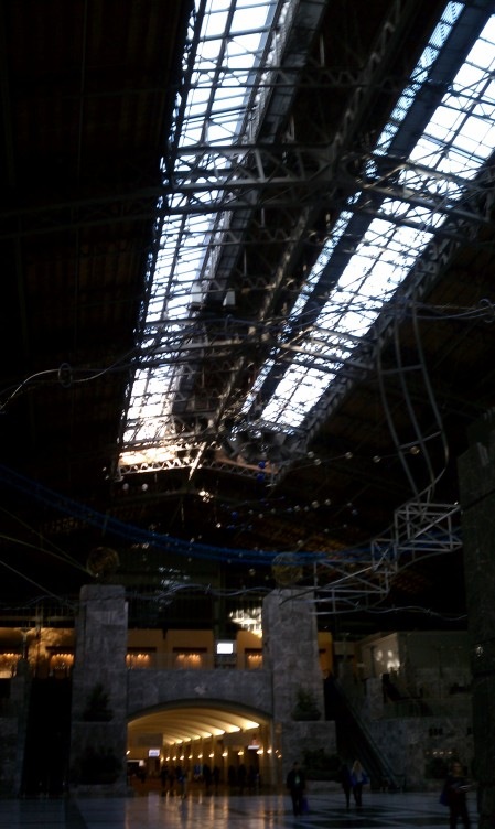 It serves as a sort of art gallery, also.  Arching ceilings really give you the feeling of being in a huge hangar.