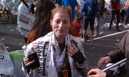 Monika, the champion.  okay, maybe not the most flattering picture she'd like me to post publicly, but hey, she just RAN A MARATHON.  Give her some slack.