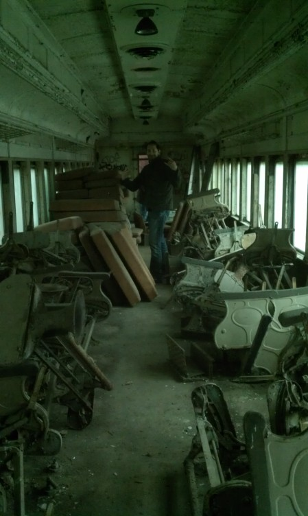 This is inside one of the abandoned trains down at Winslow Junction.  Since I've been coming here, the amount of cars has slowly gone down, I assume because they are being scrapped.  there was once at least a hundred cars, but now there's maybe a dozen.