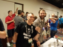 members enjoy beers after the Banquet