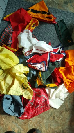 These are my father's huge collection of Boy Scouts neckerchiefs. They're from all over the northeast for different BSA events.