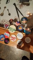 """Pins from my trench coat in middle school. They confiscated all the good ones when I went to the set of Double Dare to see my friend compete live. these were the ones that were """"allowed."""""""