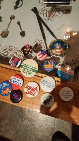 "Pins from my trench coat in middle school. They confiscated all the good ones when I went to the set of Double Dare to see my friend compete live. these were the ones that were ""allowed."""