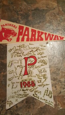 A pair of pennants, signed by a bunch of my best friends back when we graduated 5th grade at Parkway Elementary.